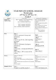weekly plan grade 1 to grade 8 15th nov to 18th nov star