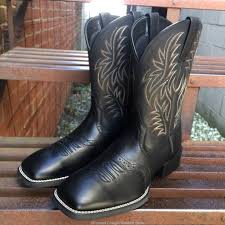 ariat men u0027s black sport wide square toe western boots 10016292