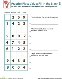 practice place value fill in the blank ii worksheet education com