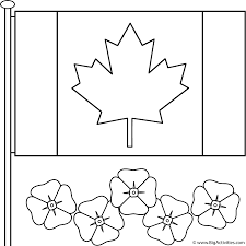Canadian Flag Symbol Canadian Flag With Poppies Coloring Page Remembrance Day