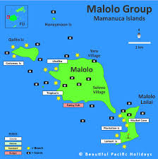 island on map map of malolo island in fiji islands showing hotel locations