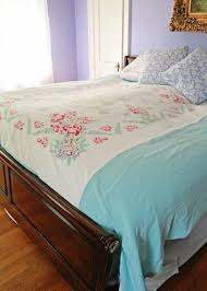 How To Make Duvet Covers Diy Upcycled Vintage Tablecloth Duvet Cover My So Called Crafty Life
