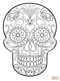 free sugar skull coloring page printable day of the dead inside