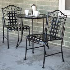 Wrought Iron Patio Furniture Set by International Caravan Mandalay 3 Pc Iron Patio Bistro Set