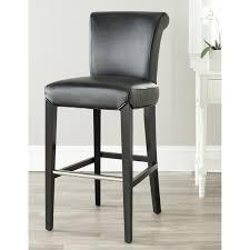 fabulous black leather bar stool tufted back black bicast leather