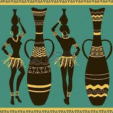 African Vases Seamless Pattern Of Beautiful African Women With Vases Royalty