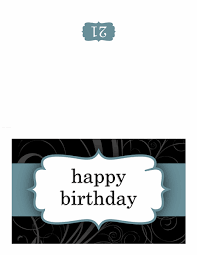 birthday card blue ribbon design half fold office templates