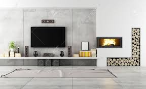 Modern Living Room With Fireplace Images Modern Living Room With Tv And Fireplace Rendering Stock Photo