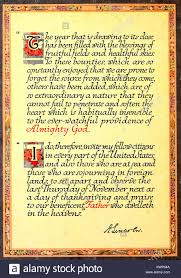 framed copy of president abraham lincoln s thanksgiving proclamation