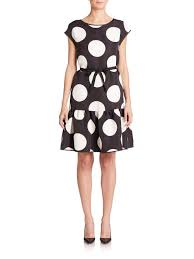 boutique moschino polka dot flounce hem dress in black lyst