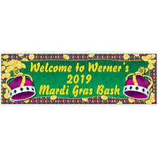 personalized mardi gras personalized medium mardi gras coins crown vinyl banner