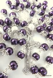 purple rosary purple rosary five decade catholic rosary sacred by amydavisart