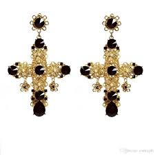 black dangle earrings 2017 vintage baroque filigree byzantine black cross earrings