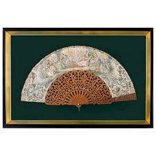sandalwood fan framed carved sandalwood fan with painted screen for