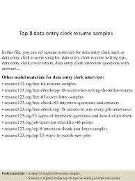 Data Entry Clerk Job Description Resume by Top 8 Data Entry Clerk Resume Samples 1 638 Jpg Cb U003d1429931666