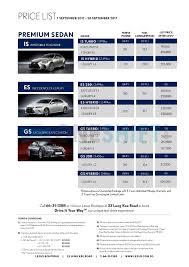 lexus models singapore lexus singapore printed car price list oneshift com