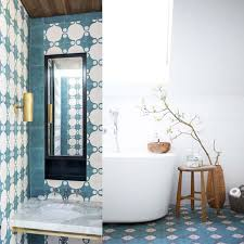 modern vanity with the moroccan style tile on the left the