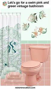 Vintage Mermaid Shower Curtain - ideas to decorate a pink bathroom using classic kitsch designs
