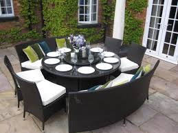 7 Piece Round Patio Dining Set by Patio Round Dining Table Benches And Chairs Rattan Garden
