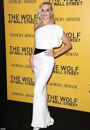 wolf of wall wedding dress margot robbie wears grecian gown to the wolf of wall