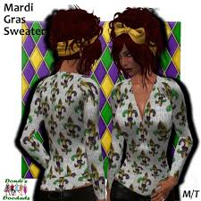 second marketplace dondi s doodads mardi gras sweater