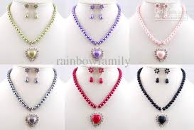 coloured pearls necklace images 2018 colour pearls crystals gem heart pendant jewellery set bridal jpg