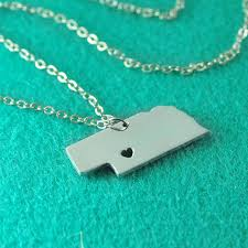 Custom Silver Pendants Nebraska Pendant I Heart Nebraska Necklace Custom Nebraska