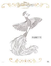 disney beauty and the beast plumette coloring page printable
