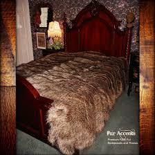 Faux Fur Throw Blanket Premium Faux Fur Bedspread Golden Brown Wolf Skin Coyote Shag