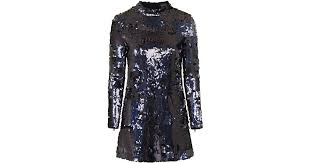 topshop high neck sequin dress in metallic lyst
