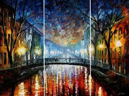misty bridge st petersburg u2014 set of 3 pieces triptych palette