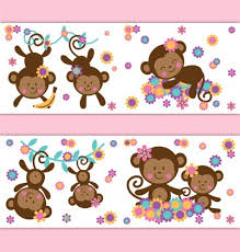 Safari Nursery Wall Decals Monkey Wallpaper Border Wall Decals Safari Nursery Stickers