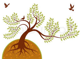 background with tree and bird element for design vector
