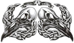 celtic and hugin and munin skull tattoo design by roblfc