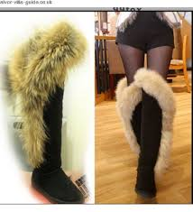 womens knee high boots sale uk high quality big faux fox fur summer warm knee high boots