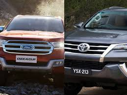 comparison between ford endeavour and toyota fortuner