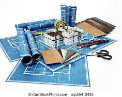 home decorating tools home decorating tools standing on house bluprints 3d drawings