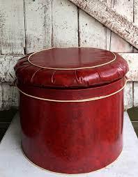 vintage red vinyl round storage ottoman footstool hassock mid