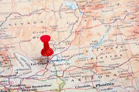 Map Of Vegas A Red Pushpin In A Map Pointing At Las Vegas Nv Stock Photo