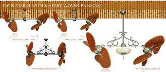 twin star ii ceiling fan 46 inch double twin star ceiling fan with woven bamboo cherry blades