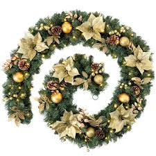 pre lit wreath thick decorated pre lit garland with 80 warm white led