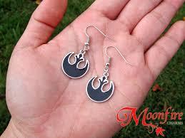 rebel earrings wars rebel alliance black symbol earrings moonfire charms