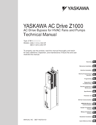 yaskawa ac drive z1000 bypass technical manual user manual 462 pages