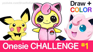 draw color pokemon challenge pichu in jigglypuff onesie step