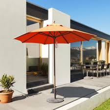 Patio Umbrella Extension Pole The Best Galtech Ft Teak Patio Umbrella With Pulley Lift Ultimate