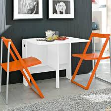 Kitchen Folding Table And Chairs - modern white dining table with orange folding chairs of