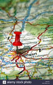 Map Of Stuttgart Germany by Map Pin Pointing To Stuttgart Germany On A Road Map Stock
