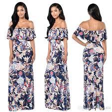 long summer dress women 2017 off shoulder boho beach maxi dress
