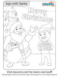 jojo with santa colouring page colouring pages for kids mocomi