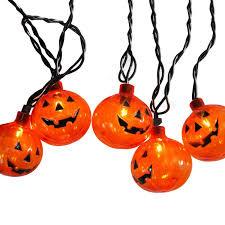 Pumpkin Halloween Lights Set Of 10 Transparent Orange Pumpkin Halloween Lights Black Wire